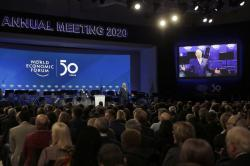 Klaus Schwab, founder of the World Economic Forum, delivers a welcome message on the eve of the annual meeting of the World Forum in Davos, Switzerland, Monday, Jan. 20, 2020