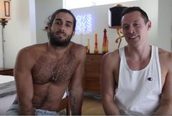 Adult performer Diego Sans, left, with Davey Wavey, right, in the YouTuber star's video about kissing.