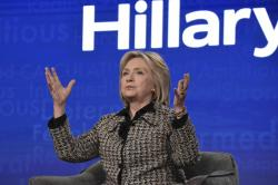 """Hillary Clinton participates in the Hulu """"Hillary"""" panel during the Winter 2020 Television Critics Association Press Tour."""