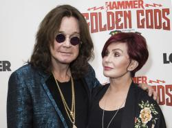 Ozzy Osbourne, left, and his wife Sharon Osbourne at the Metal Hammer Golden God awards in London.