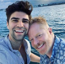 Justin Mikita, left, and his husband actor Jessie Tyler Ferguson, right.