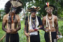 Guarani Mbya protesters in traditional indigenous dress occupy land being cleared for apartment buildings by real estate company Tenda, next to their community's property in Sao Paulo, Brazil, Thursday, Jan. 30, 2020
