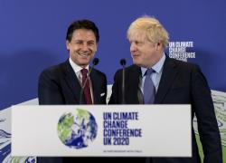 Britain's Prime Minister Boris Johnson, right, and Italy's Prime Minister Giuseppe Conte attend the launch of the upcoming UK-hosted COP26 UN Climate Summit in London, Tuesday Feb. 4, 2020, that will take place in autumn 2020 in Glasgow, Scotland