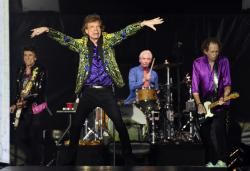 From left, Ron Wood, Mick Jagger, Charlie Watts and Keith Richards of the Rolling Stones performing in Pasadena, Calif.