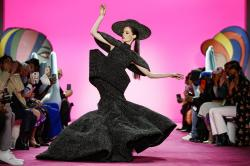 Model Coco Rocha wears the final look of the Christian Siriano collection during NY Fashion Wee