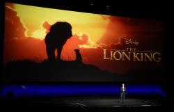 "Sean Bailey, president of Walt Disney Studios Motion Picture Production, discusses the upcoming live-action film ""The Lion King"" during the Walt Disney Studios Motion Pictures presentation at CinemaCon 2019 at Caesars Palace in Las Vegas."