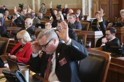 Republicans in the Kansas House indicate that they want a roll call vote on giving first-round approval to a proposed amendment to the state constitution on abortion, Thursday, Feb. 6, 2020, at the Statehouse in Topeka, Kan.