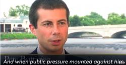 Pete Buttigieg in a screenshot from Joe Biden's attack ad, released on Saturday, February 8, 2020
