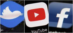 This combination of images shows logos for companies from left, Twitter, YouTube and Facebook