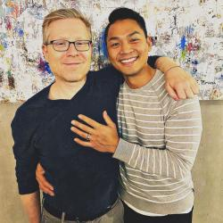 Actor Anthony Rapp, left, and his partner Ken Ithiphol, right.