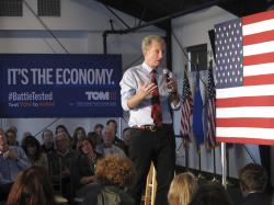 Democratic presidential hopeful Tom Steyer speaks at a rally in west Reno, Nev.