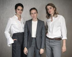 "From left, actress Noemie Merlant, filmmaker Celine Sciamma, and actress Adele Haenel posing for a portrait in New York to promote their film, ""Portrait of a Lady on Fire."""