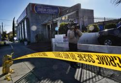 In this Wednesday, Jan. 29, 2020, file photo, crime scene tape is seen closing off an area around the grounds of the Kingdom of Jesus Christ Church in the Van Nuys section of Los Angeles