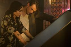 "Zoë Kravitz, left, and Thomas Doherty, right, in a scene from Hulu's ""High Fidelity."""