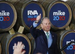 Democratic presidential candidate Mike Bloomberg gives his thumbs-up after speaking during a campaign event at Hardywood Park Craft Brewery in Richmond, Va., Saturday, Feb. 15, 2020