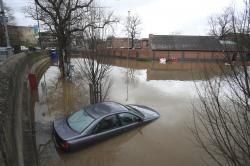 A car submerged in flood water in York, north England, Monday Feb. 17, 2020