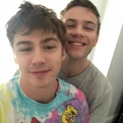 Acotr Miles Heizer, left, and actor Connor Jessup, right.