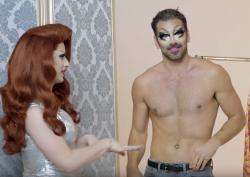 Miz Cracker, left, and Nyle DiMarco, right, in a drag makeover video for Them.