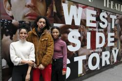 "From left, Ilda Mason, Israel Del Rosario and Satori Folkes-Stone pose outside the Broadway Theatre in New York, where they are making their Broadway debuts in ""West Side Story."""
