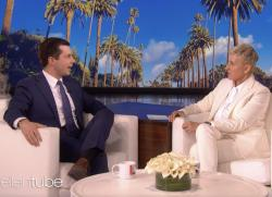 "Democratic presidential candidate Pete Buttigieg, left, appears on ""The Ellen Show,"" with host Ellen DeGeneres, right."