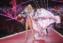 Devon Windsor walks the runway during the 2018 Victoria's Secret Fashion Show at Pier 94 in New York.
