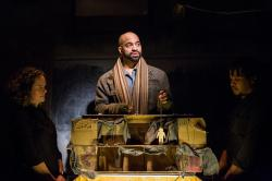 Cyd Blakewell, Martel Manning and Gregory Fenner in The Gift Theatre's production of The Pillowman. Photo by Claire Demos.