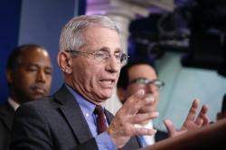 Dr. Anthony Fauci, director of the National Institute of Allergy and Infectious Diseases, speaks during a briefing on coronavirus in the Brady press briefing room at the White House, Saturday, March 14, 2020, in Washington