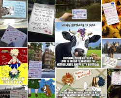 "A collage of birthday cards provided by Mona Helgeland in Ålgård, Norway, made by members of the Facebook group ""Random Acts of Kindness."""