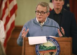 Ohio Gov. Mike DeWine at a coronavirus news conference Saturday, March 14, 2020 at the Ohio Statehouse in Columbus