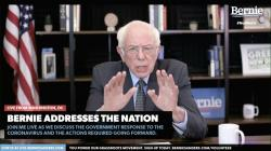 In this image from video provided by BernieSanders.com, Democratic presidential candidate Sen. Bernie Sanders, I-Vt., speaks from Washington, Tuesday, March 17, 2020