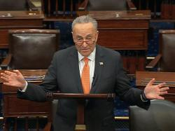 In this image from video, Senate Minority Leader Chuck Schumer, D-N.Y., speaks on the Senate floor at the U.S. Capitol in Washington, Saturday, March 21, 2020