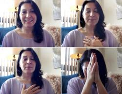 In this combination of frame grabs from journalist Donna Borak's March, 17, 2020, online meditation session she hosted over Zoom, she leads a group to help ease the stress of isolation from Washington
