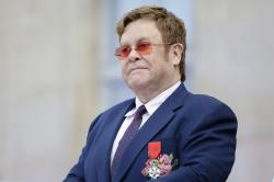 Elton John at a ceremony honoring him with the Legion of Honor in Paris