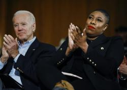 Democratic presidential candidate, former Vice President Joe Biden and senior adviser Symone Sanders participate in a campaign event in Iowa City, Iowa.