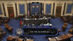 In this image from video, the final vote of 96-0 shows passage of the $2.2 trillion economic rescue package in response to coronavirus pandemic, passed by the Senate at the U.S. Capitol in Washington, Wednesday, March 25, 2020
