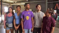 "This image released by Netflix shows, from left, Jessica Marie Garcia, Sierra Capri, Brett Gray, Diego Tinoco and Jason Genao from the series ""On My Block."""