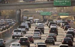 This Dec. 12, 2018, file photo shows traffic on the Hollywood Freeway in Los Angeles