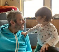 Andy Cohen, left, with his son Benjamin.