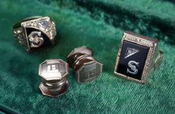 America mobster Bugsy Siegel's cuff links and rings.