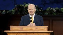 In this photograph provided by The Church of Jesus Christ of Latter-day Saints shows President Russell M. Nelson speaking during The Church of Jesus Christ of Latter-day Saints' twice-annual church conference Saturday, April 4, 2020, in Salt Lake City