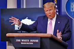 President Donald Trump speaks about the coronavirus in the James Brady Press Briefing Room of the White House, Wednesday, April 1, 2020, in Washington