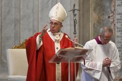 Pope Francis celebrates Palm Sunday Mass behind closed doors in St. Peter's Basilica, at the Vatican, Sunday, April 5, 2020, during the lockdown aimed at curbing the spread of the COVID-19 infection, caused by the novel coronavirus