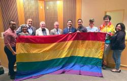 Members of the Lambda Democratic Club of Contra Costa County brought a Pride flag with them to a Pinole City Council meeting last year at which their request to see the East Bay city fly the LGBT symbol during June was approved
