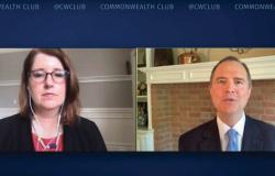 Mother Jones editor Clara Jeffery talked with Congressman Adam Schiff during a virtual presentation for the Commonwealth Club of California