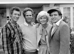 """Members of the original cast of the """"Leave It To Beaver,"""" from left, Ken Osmond, Tony Dow, Barbara Billingsley and Jerry Mathers during the filming of their TV special, """"Still The Beaver,"""" in Los Angeles in 1982."""