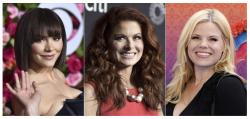 From left, Katharine McPhee, Debra Messing and Megan Hilty