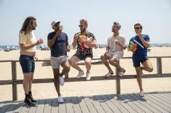"From left to right: Jonathan Van Ness, Karamo Brown, Bobby Berk, Tan France, and Antoni Porowski in a scene from ""Queer Eye"" Season 5."