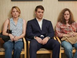 "This image released by Netflix shows Haley Bennett, from left, Gabriel Basso and Amy Adams in a scene from ""Hillbilly Elegy."""