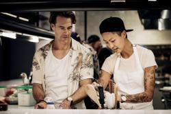 (l to r) James Van Der Beek and Kristen Kish on the set of 'Fast Foodies.'