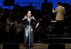 Christina Aguilera and Gustavo Dudamel performing at the Hollywood Bowl